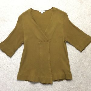 COS V-Neck Blouse Size 6 Short Sleeve Front Pleat